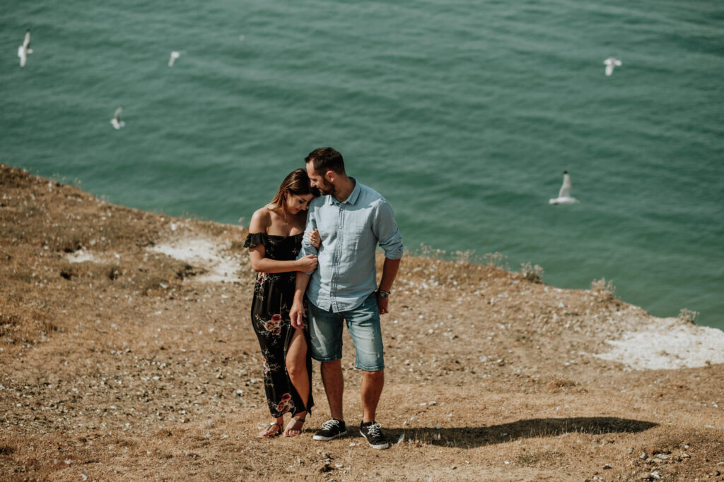 couples session on the cliffs in seaford